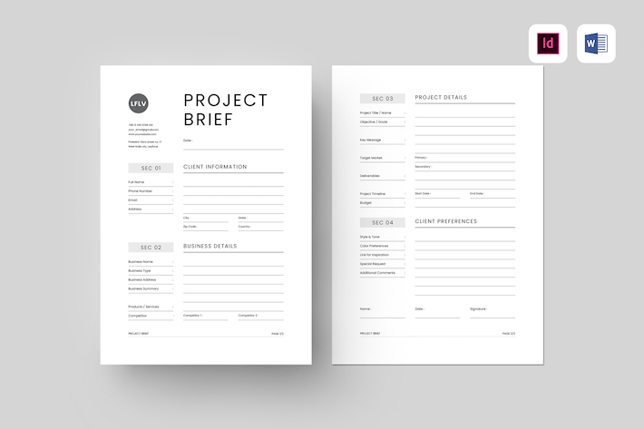 Project Brief | MS Word & Indesign
