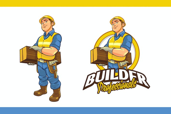 Thumbnail for Friendly & Strong Construction Worker Mascot Logo