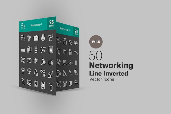 Thumbnail for 50 Icones inversées de la ligne de mise en réseau