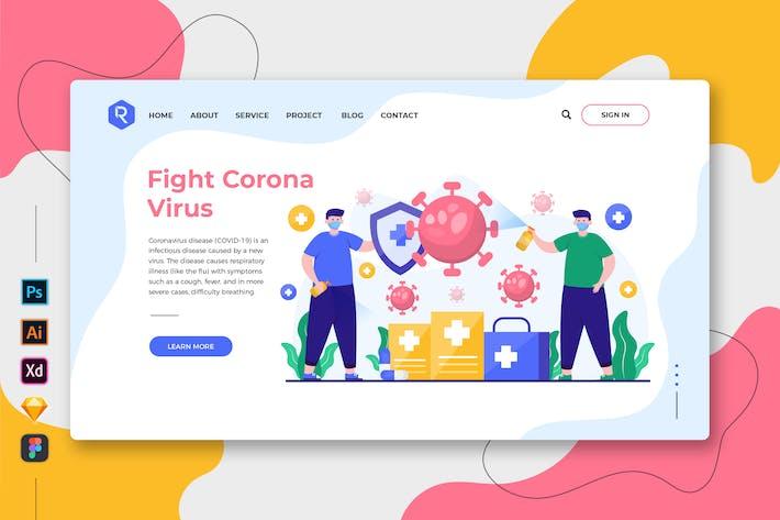 Thumbnail for Fight Corona Virus - Web & Mobile Landing Page