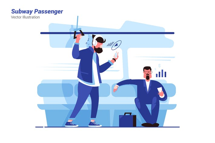 Subway Passenger - Vector Illustration