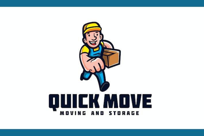 Vintage Retro Running Mover - Moving Service Logo