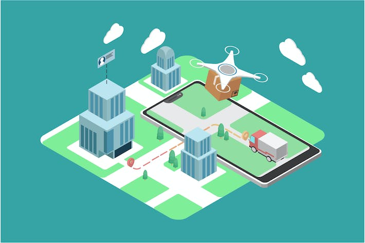 Thumbnail for Delivery with Drone - IoT Illustration