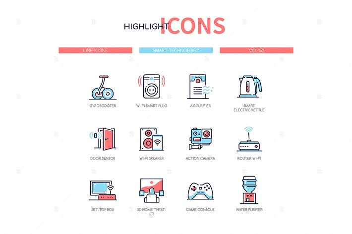 Thumbnail for Smart technology - line design style icons set