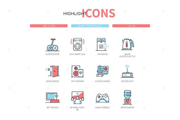 Smart technology - line design style icons set