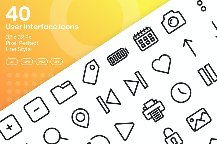 Thumbnail for 40 User Interface Icons Set - Line