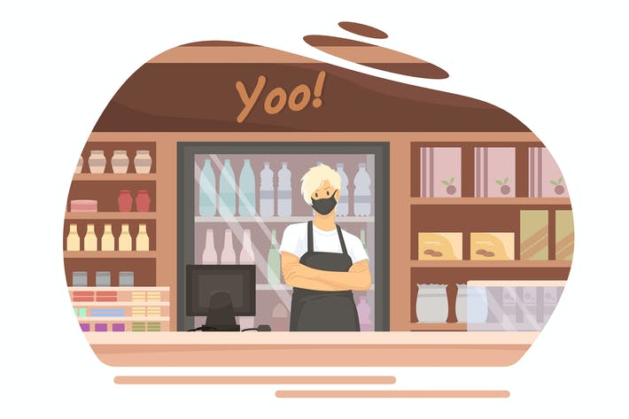 Thumbnail for Cashier in a store wearing a face mask.