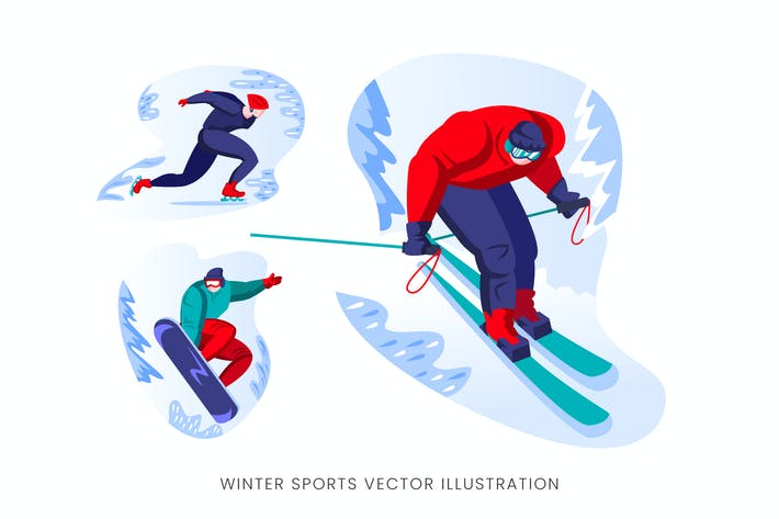 Thumbnail for Winter Sport Vector Character Set
