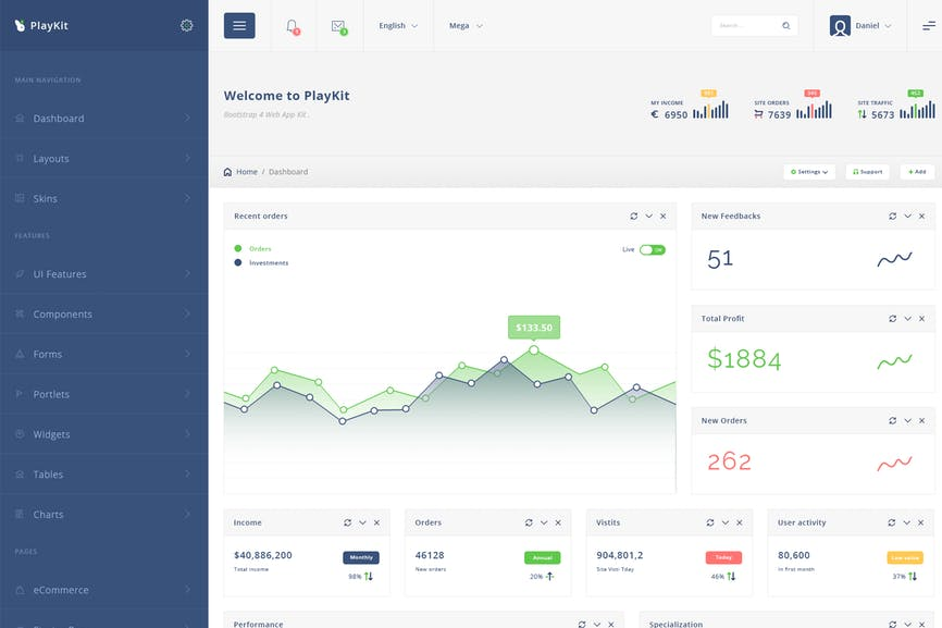 Nutflix - Bootstrap Admin Template by Ra-Themes on Envato Elements