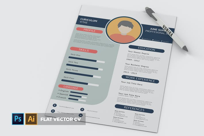 Thumbnail for Flat Vector | CV & Resume