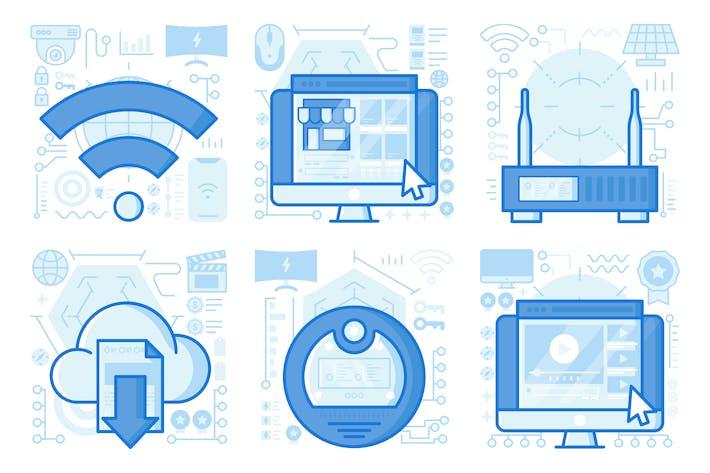 Thumbnail for Wireless Modem UI UX Illustrations