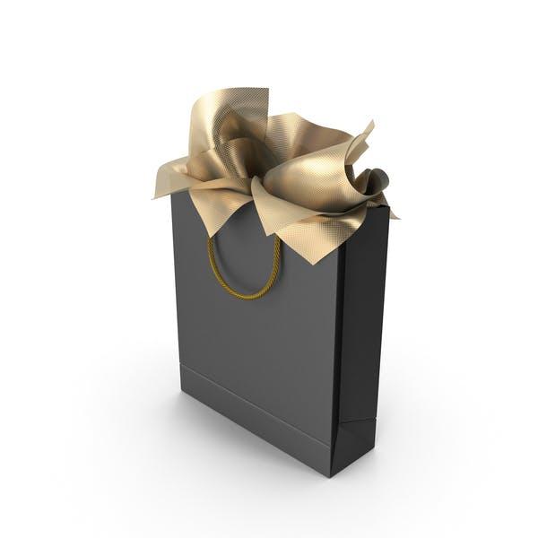 Черная сумка для покупок с золотой подарочной бумагой