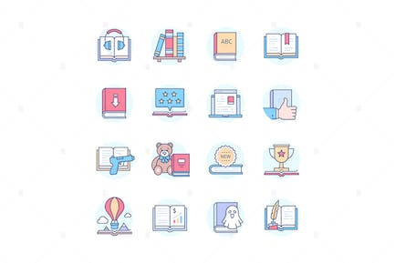 Reading Mobile App - Line Design Style Icons Set