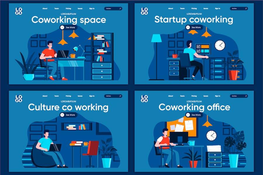 Modèle de page d'accueil Concept de l'espace de coworking
