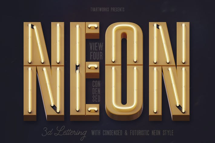 Thumbnail for Condensed Neon 3D Lettering View 4