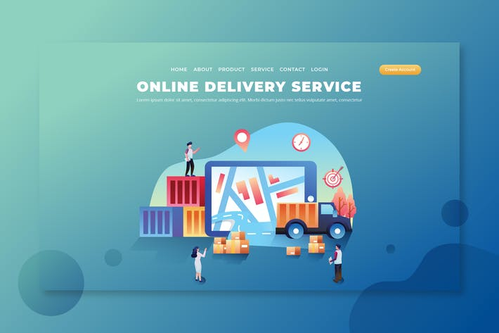 Thumbnail for Online Delivery Service - PSD und AI Landing Page