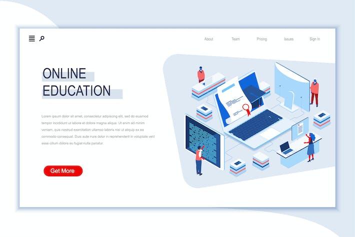 Thumbnail for Онлайн образование Изометрический Баннер Плоская концепция