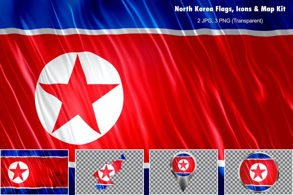 Download North Korea Flags Icons Map Kit by StrokeVorkz