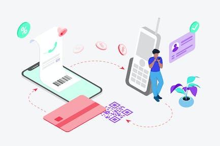 Landline Bill Payment by Digital Wallet Isometric