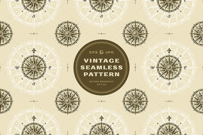 Cover Image For Seamless vintage compass rose pattern