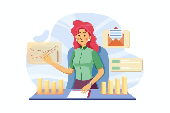 Thumbnail for Business lady analyzing financial income