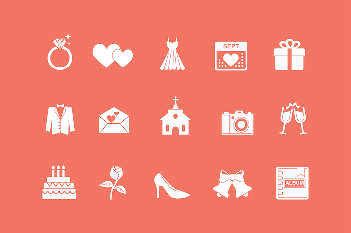 Thumbnail for 15 Wedding and Marriage Icons