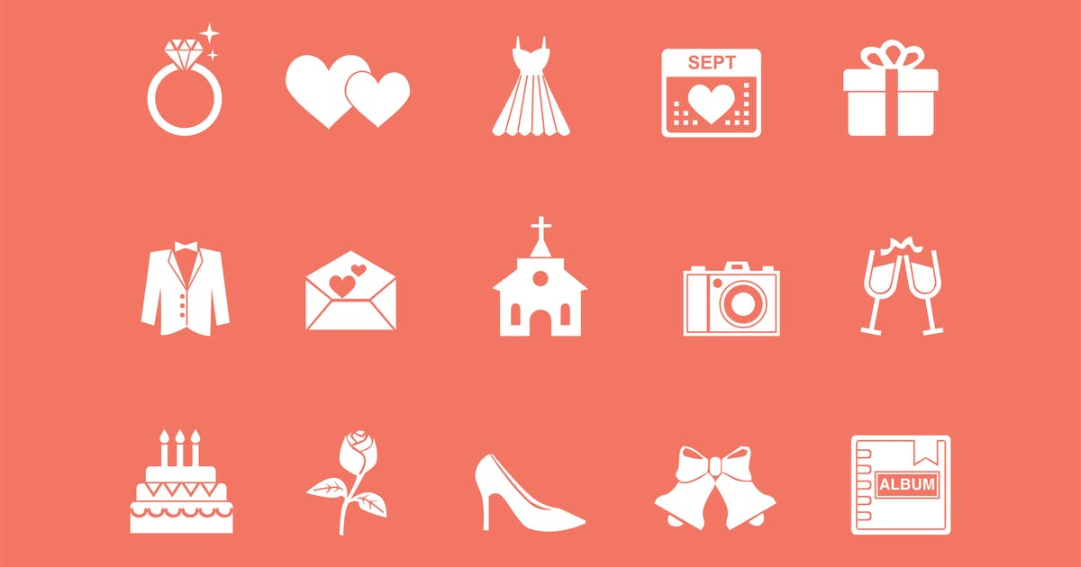 Download 15 Wedding and Marriage Icons by creativevip