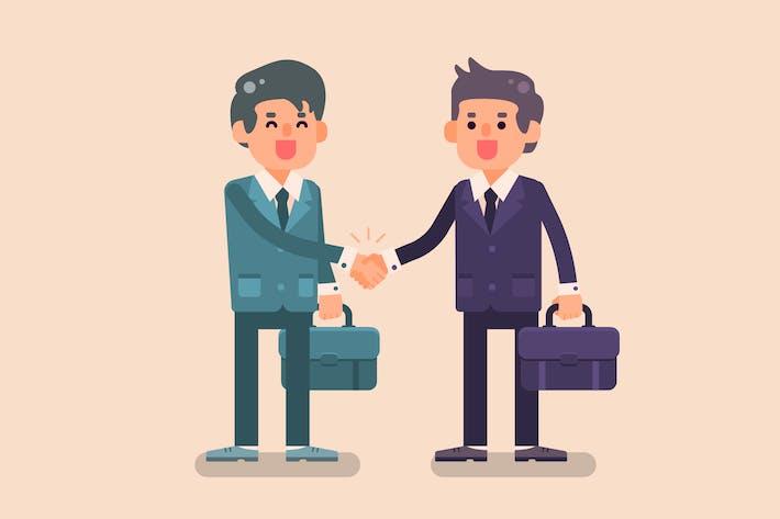 Zwei glückliche Geschäftsmann schütteln Hände
