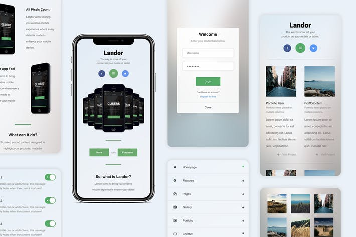 Thumbnail for Landor | Dropdown Menu Based Mobile Template