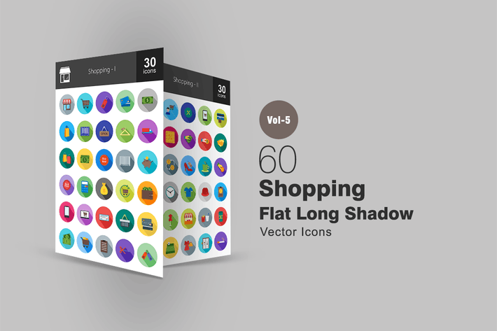 Thumbnail for 60 Shopping Flat Shadowed Icons
