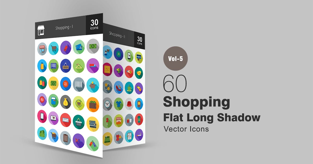 Download 60 Shopping Flat Shadowed Icons by Unknow