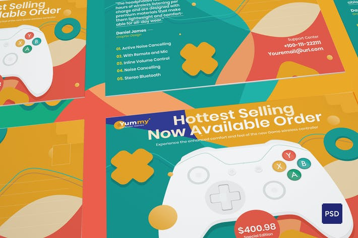 Digital Game Controller Postcard PSD Template
