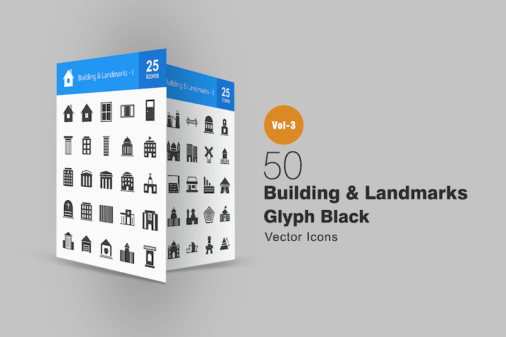 Thumbnail for 50 Buildings & Landmarks Glyph Icons
