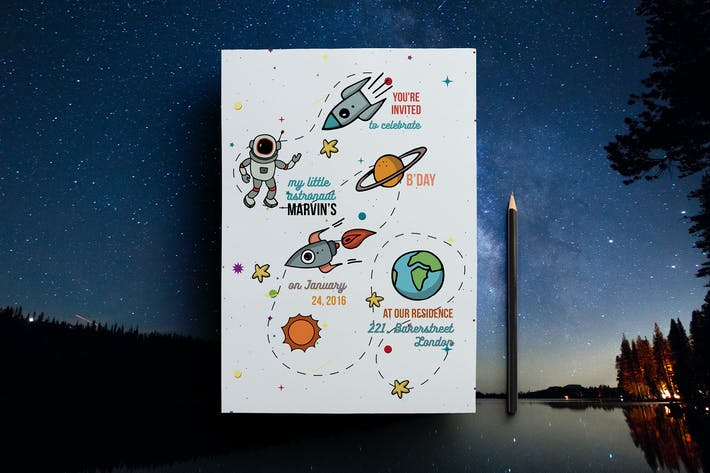 Thumbnail for Space Themed Birthday Party Invitation