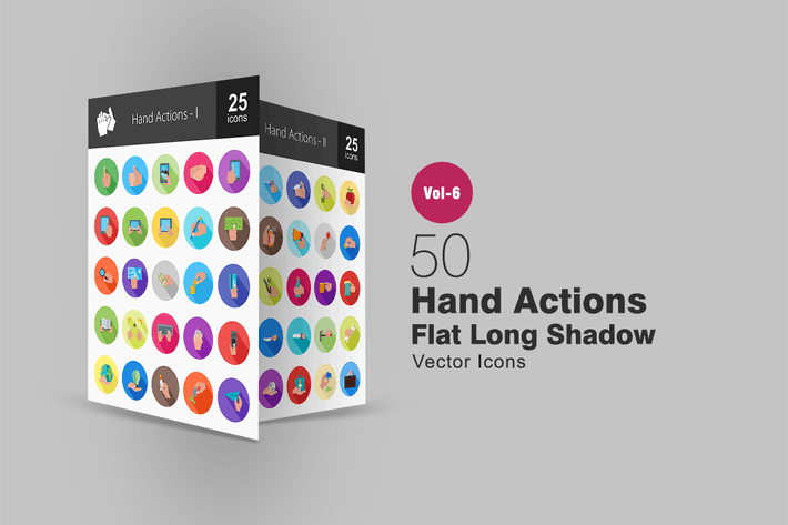 Thumbnail for 50 Hand Actions Flat Shadowed Icons