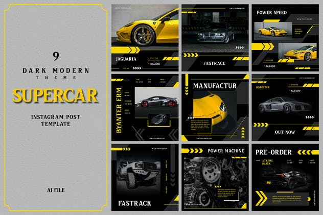Dark Modern Theme - Supercar Instagram Post