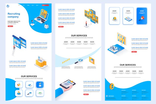 Recruiting Company Isometric Landing Page Template