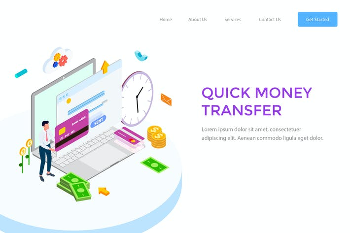 Thumbnail for Quick Money Transfer Isometric Illustration - FV