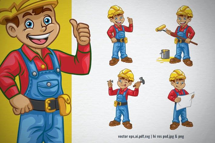 Set Zeichentrickfigur des Bauarbeiters