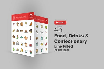 45 Food, Drinks & Confectionery Filled Line Icons