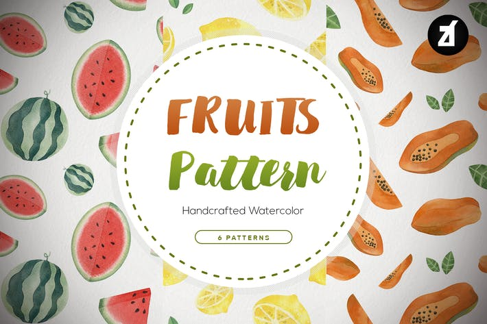 Thumbnail for Fruits pattern hand-drawn watercolor illustration