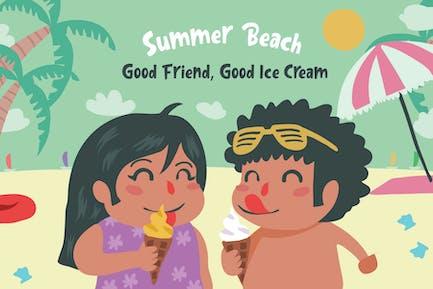Playa Hielo Cream - Ilustración Vector
