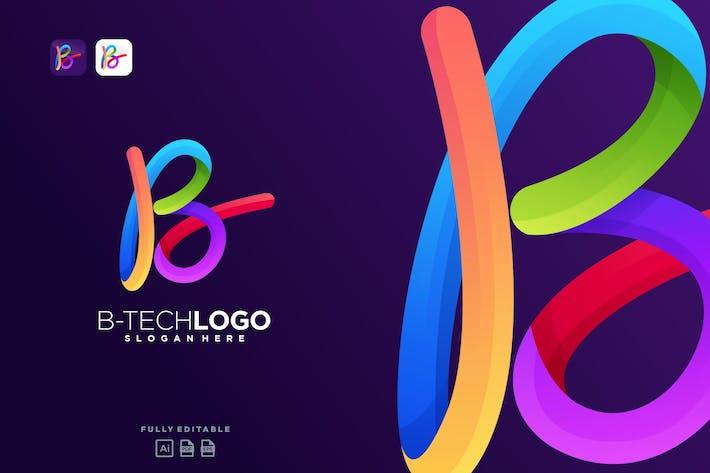 Thumbnail for B Colorful Tech Logo Letter B Technology