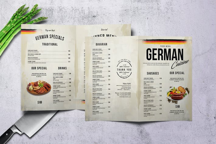 Thumbnail for German Cuisine A4 & US Letter Bifold Menu