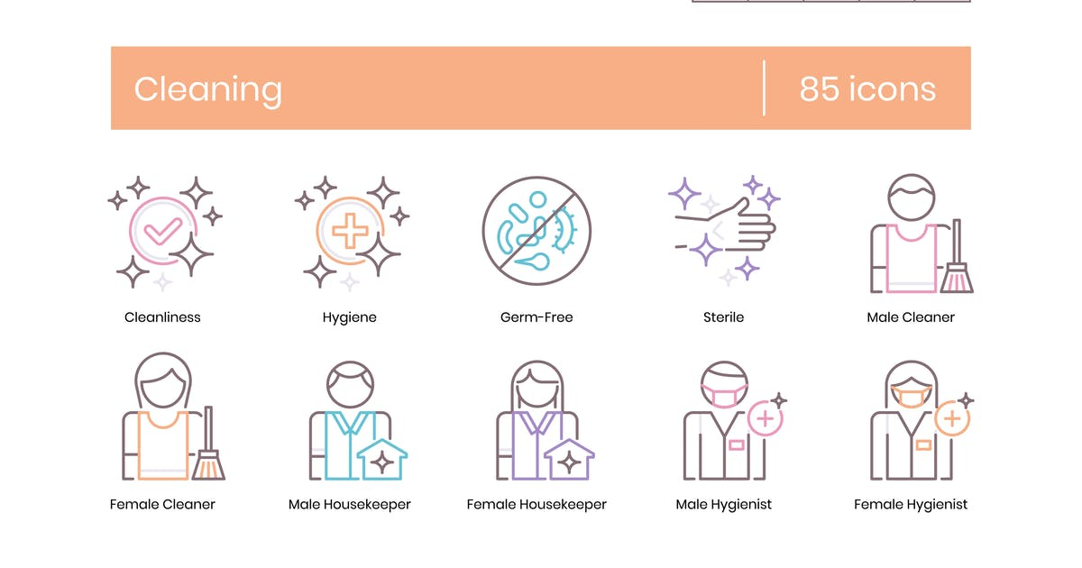 Download 85 Cleaning Line Icons by Krafted