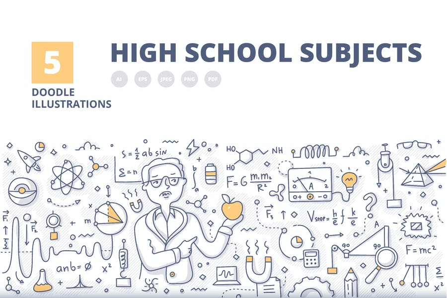 5 High School Subjects Doodle Banner Concepts