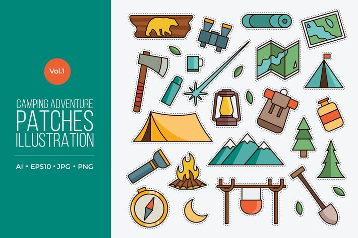 Thumbnail for Outdoor Camping Adventure Patches Vector Vol.1