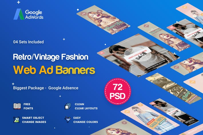 Thumbnail for Multipurpose Retro/Vintage Banner Ads - 72 PSD