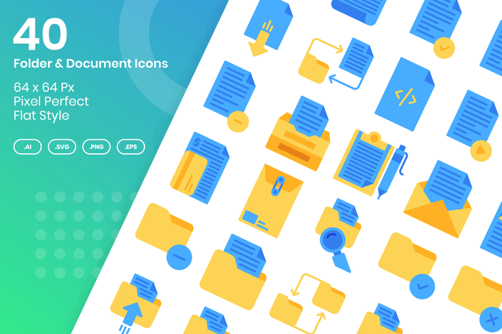 Thumbnail for 40 Folder & Document Icons Set - Flat