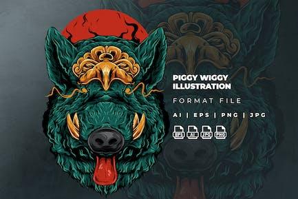 Piggy Wiggy Illustration